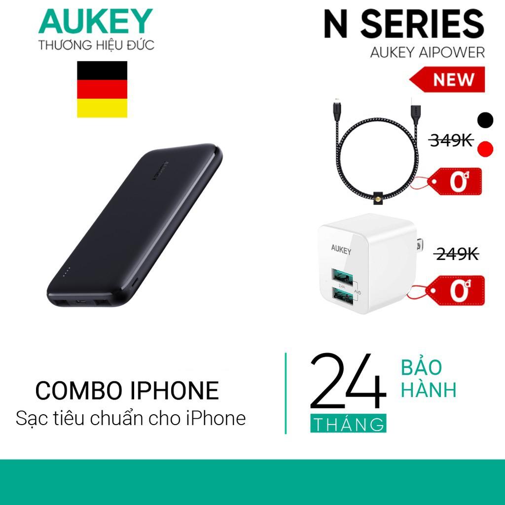 [Mã ELMALL11 giảm 6% đơn 500K] Combo Sạc iPhone AUKEY Sạc 10.000 mAh PB-N73, Cốc 12W PA-U32, Cáp Sạc Lighting MFi CB-AL1