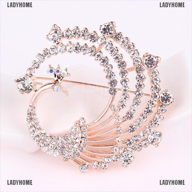 【Ladyhome】Crystal Peacock Animal Corsage Banquet Decoration Women Scarf Brooch