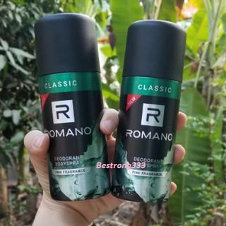 Yêu Thích[MẪU MỚI] Xịt khử mùi toàn thân cho Nam Romano Classic 150ml