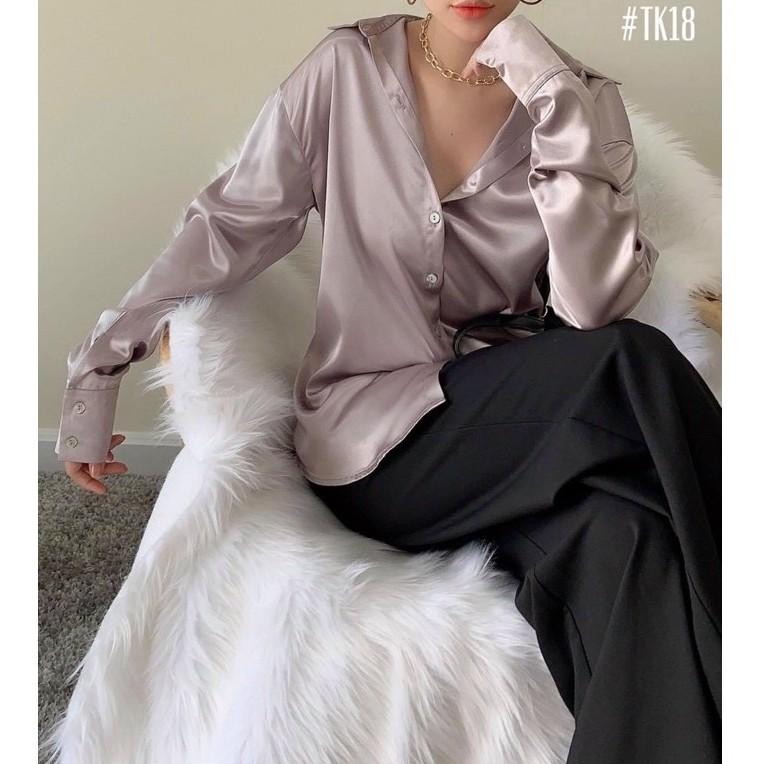 Mặc gì đẹp: Xinh tươi với Áo sơ mi nữ tay dài Lụa Hàn form rộng Freesize Madela mix đồ công sở đi chơi đều đẹp, sơ mi nữ đẹp dài tay- ASM05