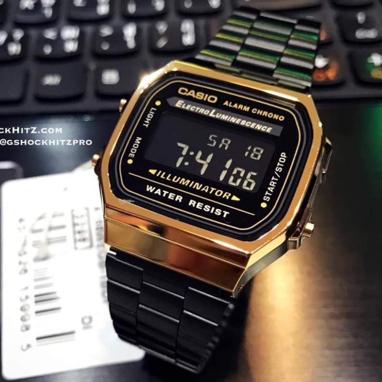 Đồng hồ nam casio A168 cổ điển, chống nước, dây thép không gỉ, bảo hành chính hãng