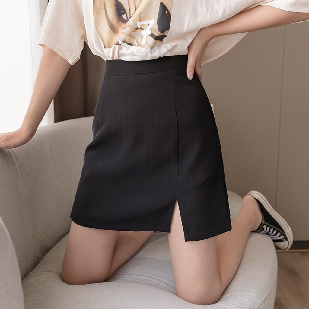 Chân váy chữ A✨FREESHIP✨ ngắn kèm quần trong. Chân váy công sở lưng cao xẻ tà màu trơn dễ phối đồ trẻ trung thanh lịch