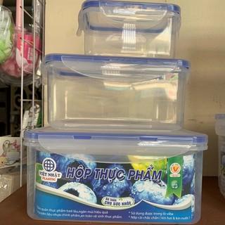 Bộ 3 Hộp Nhựa Việt Nhật Đựng Thực Phẩm Trong Tủ lạnh, Dùng được trong lò vi sóng MS 6530