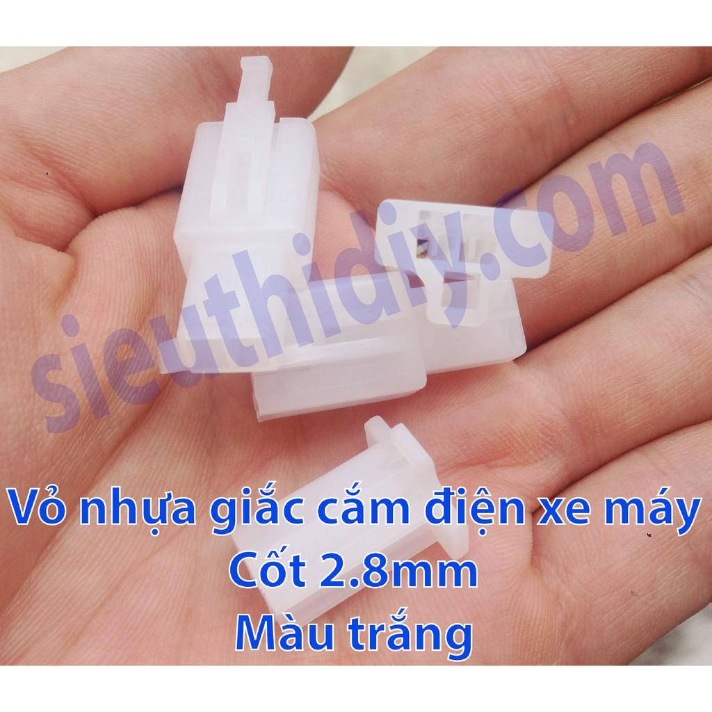 Vỏ nhựa, cốt giắc điện xe máy cốt 2.8mm bằng đồng (gói)