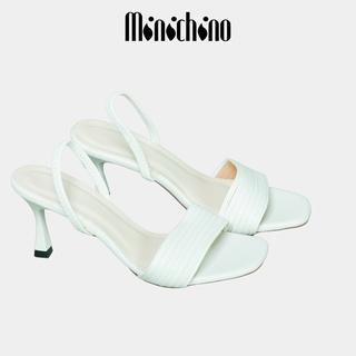 Giày sandal nữ quai mảnh gót cao 7p MINICHINO chất da mờ lì mũi tròn gót nhọn hở gót màu trắng TC009 thumbnail