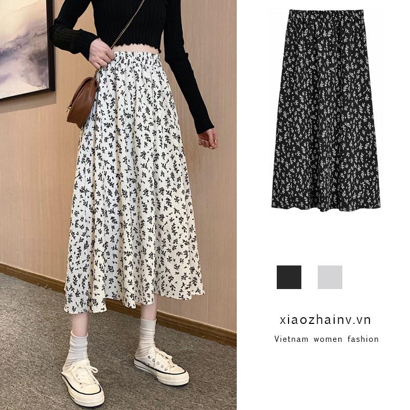 Xiaozhainv Chân Váy Midi Dáng Chữ A Lưng Cao In Hoa Phong Cách Hàn Quốc 2 Màu Lựa Chọn