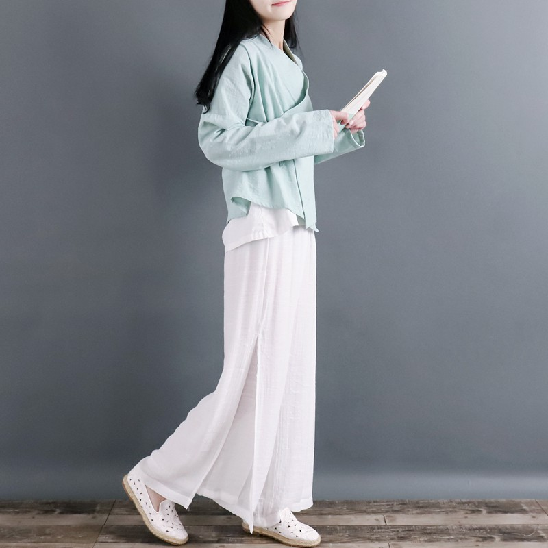Clear 袅 袅 襟 系 系 长 long-sleeved cotton blouse Zen tea service female spring and a