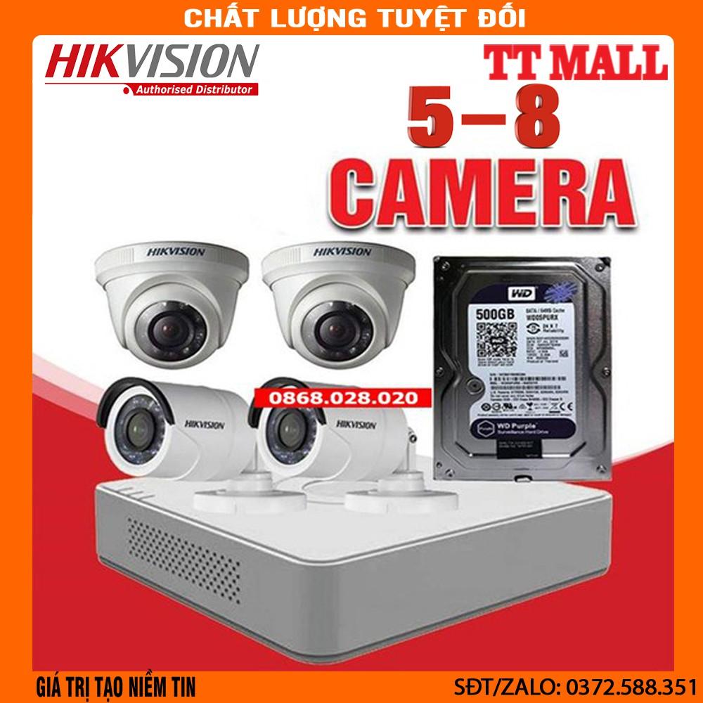 Bộ 5--8 mắt camera Hikvision 2.0MP đầy đủ phụ kiện lắp đặt + 20m dây liền  nguồn đúc 2 đầu . - Hệ thống camera giám sát