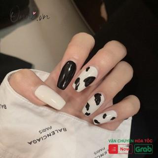 Set 24 móng tay giả họa tiết bò sữa thời trang cho nữ + Chai keo