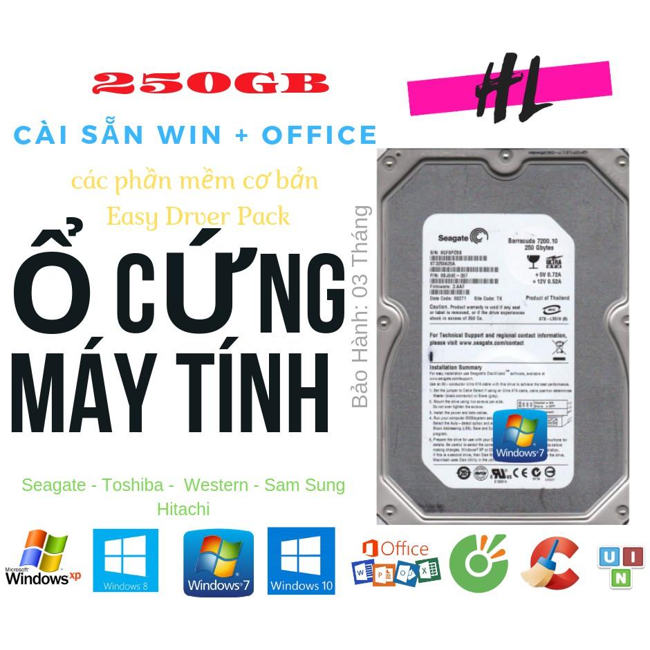 Ổ Cứng HDD 250GB – Seagate/ Sam Sung/ Toshiba/ Hitachi/ Western – Tháo Máy Đồng Bộ – Sức Khỏe Tốt Giá chỉ 229.000₫
