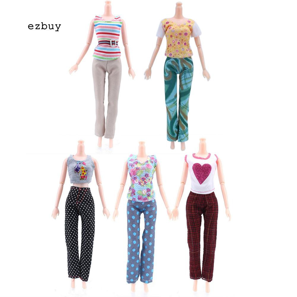 【EY】5 Tops + 5 Pants Fashion Girl Gift Casual Summer Clothes Outfit Doll Accessories