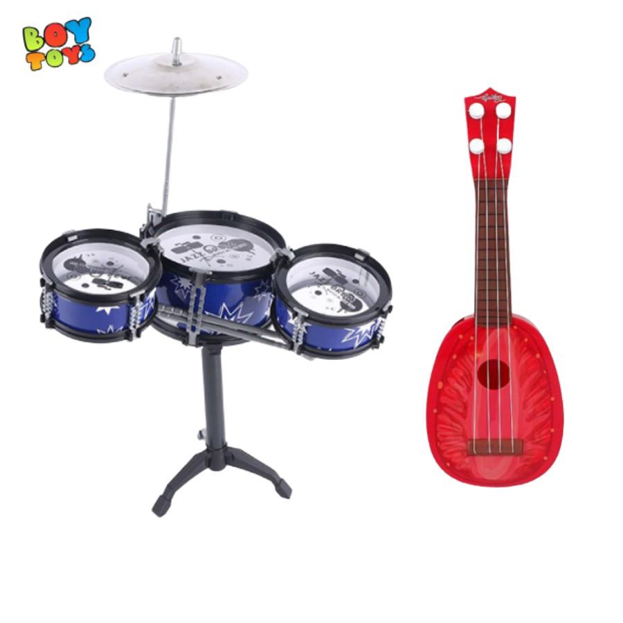 Combo 2 nhạc cụ phát triển tài năng âm nhạc cho bé 1 trống Jazz, 1 đàn guitar ngẫu nhiên