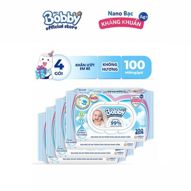 Bộ 4 gói Khăn ướt Bobby không mùi 100 tờ/gói (Xanh)