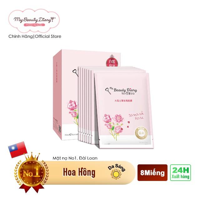 Hộp 8 miếng mặt nạ dưỡng ẩm và sáng da My Beauty Diary Taiwan Damask Rose Mask Hoa hồng 23ml/Miếng