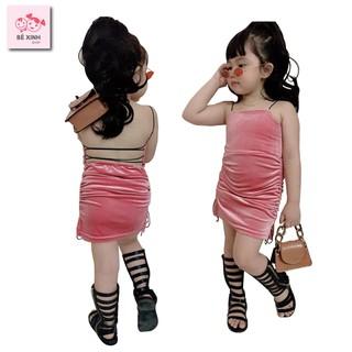 Đầm váy nhung ôm body cho bé gái 2 dây hở lưng [Giá cực rẻ] đầm váy ôm body nhung đỏ hai dây cho bé gái mặc noel tết
