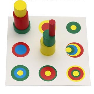 Bộ tháp trụ 4 màu Giáo cụ Montessori đồ chơi giáo dục