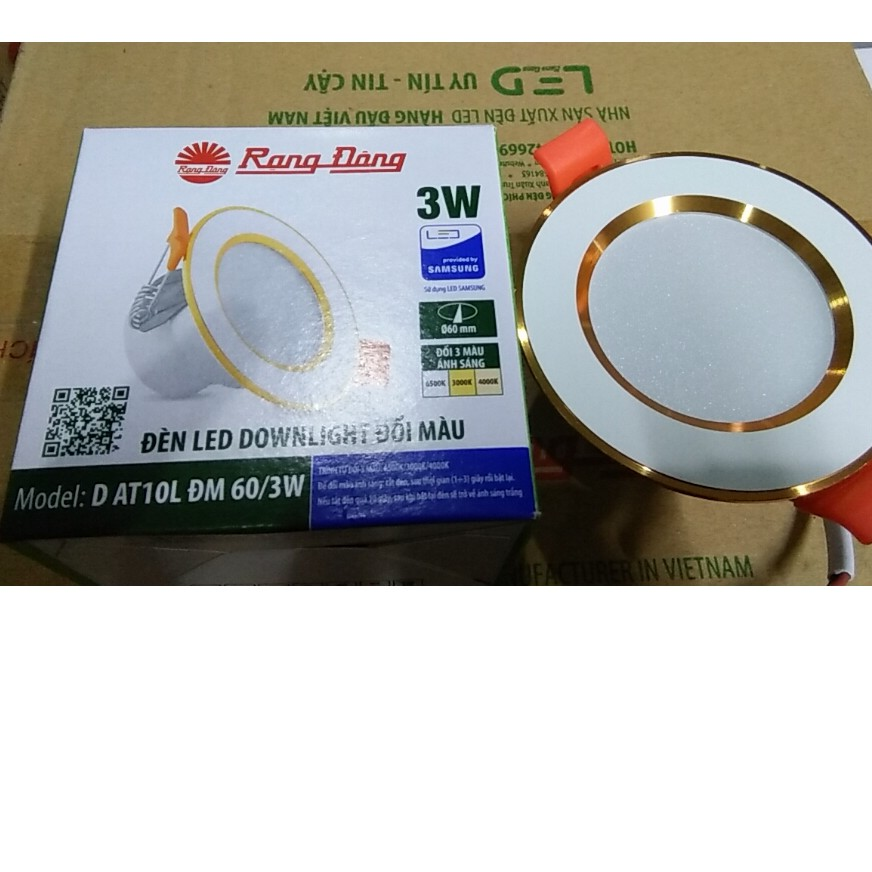 Đèn LED Âm Trần Downlight Rạng Đông Đổi 3 Màu D AT10L DM 60/3W, Khoét lỗ 60, Vỏ Nhôm Đúc - Viền Vàng