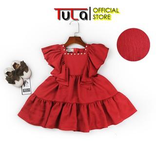 Váy Cho Bé Gái Vải Lụa Tằm Màu Đỏ Cổ Vuông Gắn Trai Cực Xinh Cho Bé