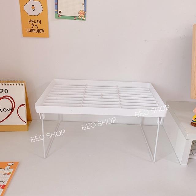 Kệ 2 tầng trang trí , kệ decor bàn học bằng nhựa màu trắng xếp đồ dùng cá nhân tháo rời tiện lợi