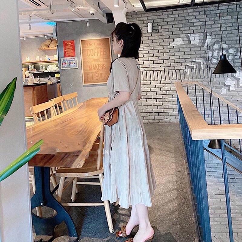 Mặc gì đẹp: Dễ chịu với Đầm bầu thiết kế thời trang chất cotton 40-68kg Váy bầu xinh mùa hè rút eo