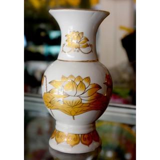Bình hoa thờ cúng sứ trắng sen vàng - hình 1