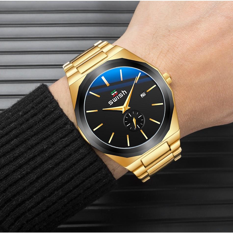 Đồng hồ nam SWISH chạy cả kim nhỏ, thép đúc đặc, kim dạ quang, Hàng Cao Cấp (Mã: SW04)