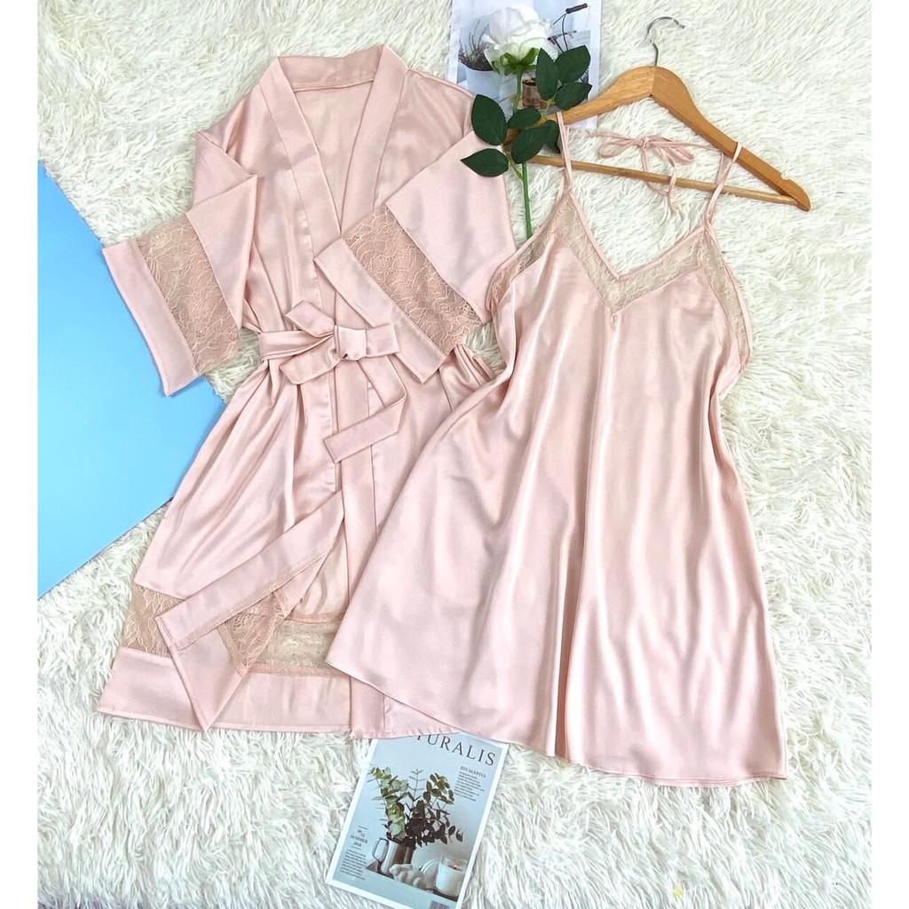 Set bộ ngủ gợi cảm ⚡FREESHIP⚡ , váy 2 dây kèm áo khoác ngoài sang trọng, chất vải đẹp, mềm mát, ít nhăn, cho đổi trả....