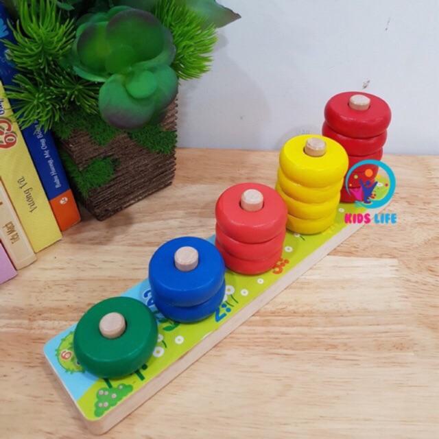 [Có Video ] Đồ Chơi Gỗ - Xiên Vòng 5 Cột - Giáo Cụ Montessori