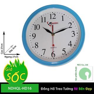 Đồng hồ treo tường NDHQL-HD16 - mặt tròn nền trắng kim giật giá rẻ