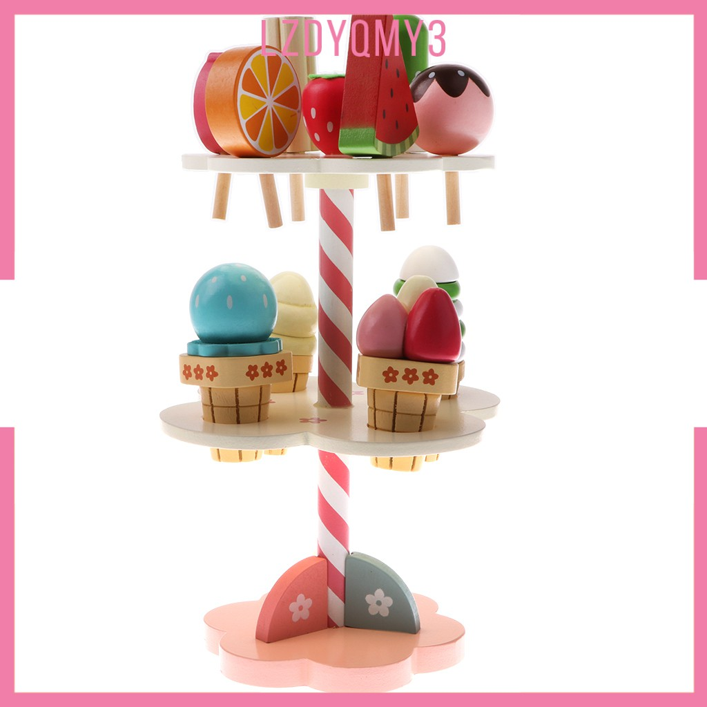 hausgarden Kids Preschool Simulation 3-layer Ice Cream Candy Sticks Stand Wooden Toys