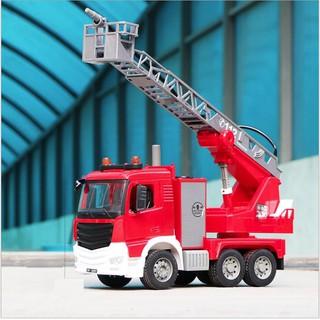 Ô tô cứu hỏa cỡ lớn đồ chơi trẻ em mô hình xe phun được nước thật có cầu thang rút E227-002