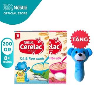 [Tặng Lục Lạc Gấu Cầm Tay] Combo 2 Hộp Bột Ăn Dặm Nestlé Cerelac Gạo Lức Và Cá Rau Xanh 200g Hộp thumbnail