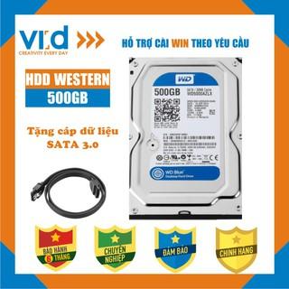 Ổ cứng HDD 500GB Western Blue - Tặng cáp sata 3.0 - Hàng nhập khẩu tháo máy đồng bộ mới 98% - Bảo hành 6T