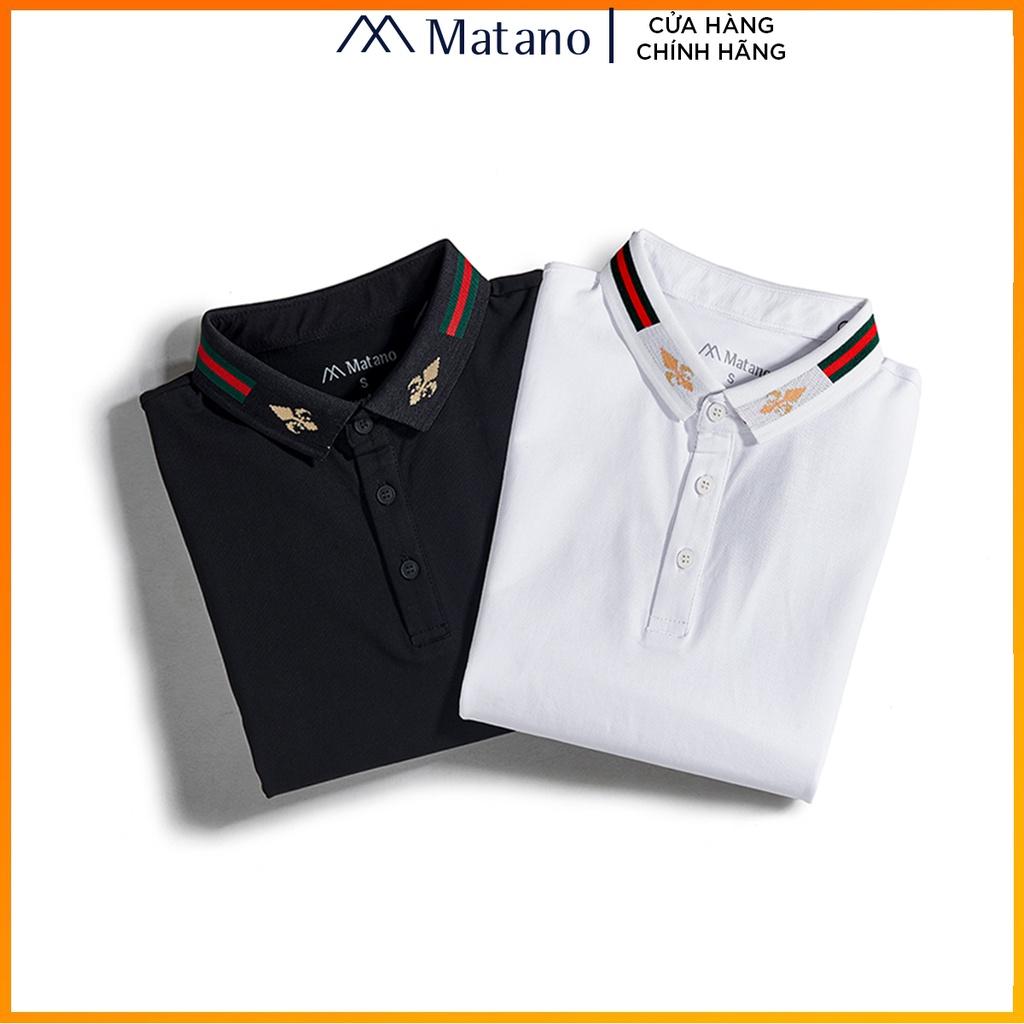 Áo polo nam đẹp cao cấp MATANO - Áo thun nam có cổ trụ bẻ dệt sọc, họa tiết, vải cá sấu cotton chính hãng hàng hiệu 025