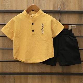 Bộ quần áo bé trai chất đũi, bộ cộc tay bé trai họa tiết hoạt hình Chidori cho bé 6-27kg
