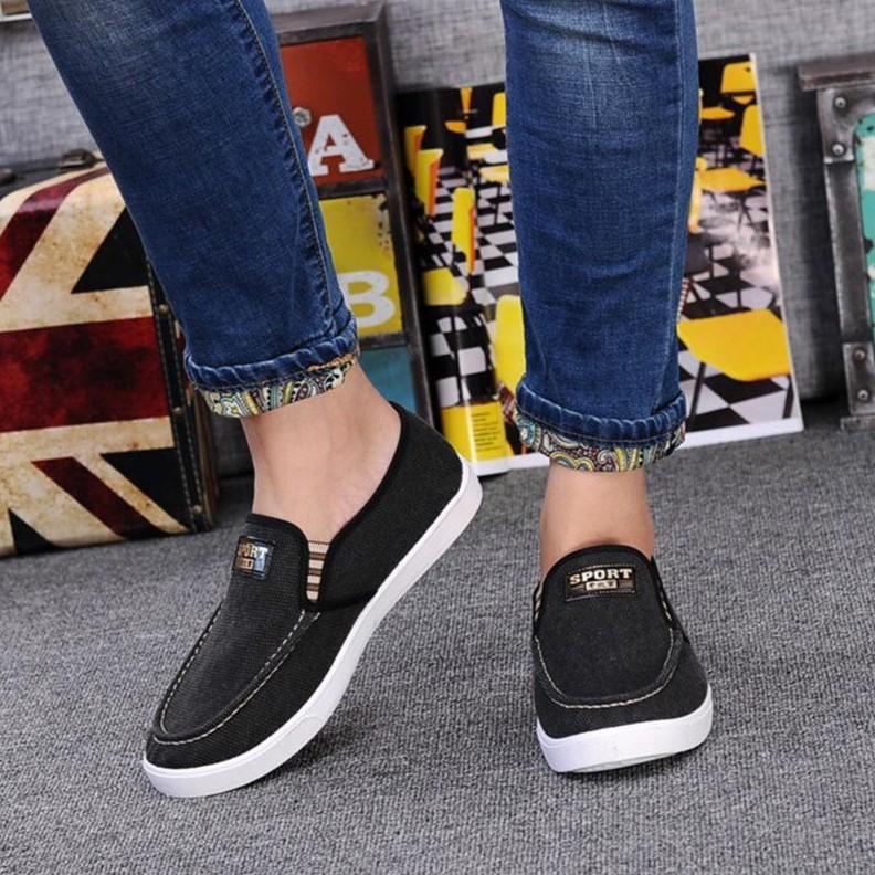 Giày lười nam mới (vải bò đen) MS11
