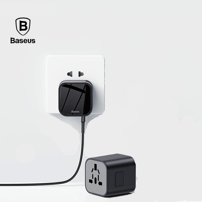 Phích cắm điện chuyển đổi kiêm cốc sạc 2 trong 1 Baseus có thể tháo rời