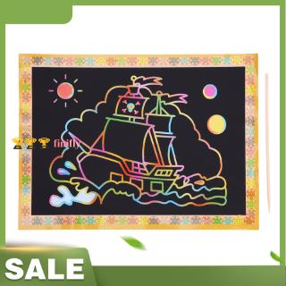 finifly A4 DIY Scraping Drawing Card Single Side Children Painting Card Paper w/Pen