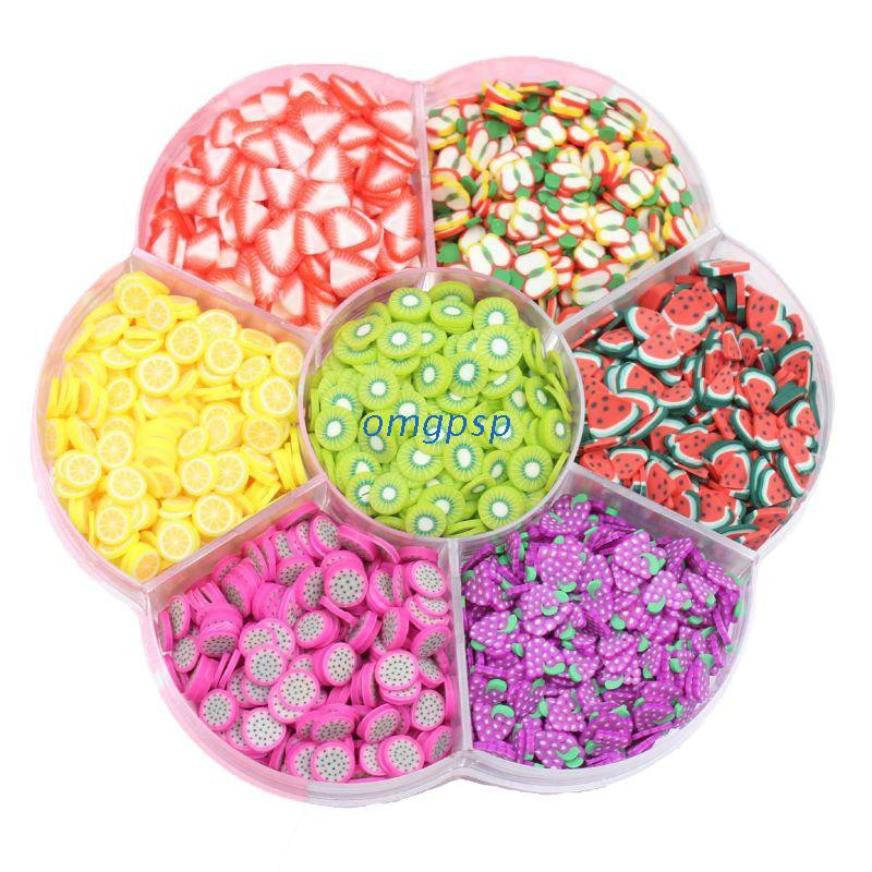 omg Assorted Fruit Slices 90g Wheel – Slime Supplies/Slime Acessories/Slime Add ins/Polymer Clay/Nail Art Kit Maker for Kids