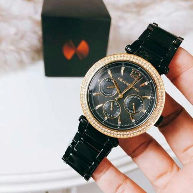 นาฬิกาแบรนด์ Michael Kors Ladies Gold Black Chronograph  สั่งซื้อแอด🆔Line: aisha_tookta