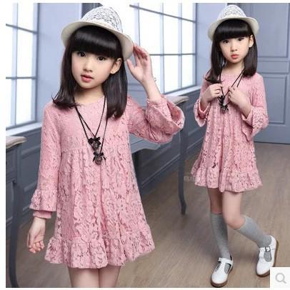 Đầm ren suông tay dài màu trơn xinh xắn cho bé gái