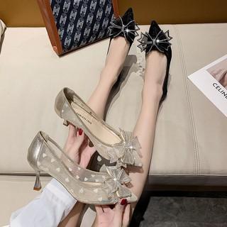 sandal nữ 5 phân quai nơ, giày nữ cao gót 5 phân quai nơ hàng quảng châu mã CX80