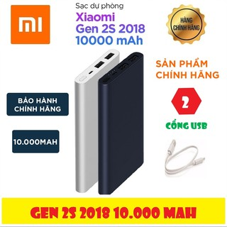 Pin Sạc Dự Phòng Xiaomi Gen 2S 10000mAh (Gen 2 New 2018 – 2 Cổng USB) – Hàng Chính Hãng | Mới 100%