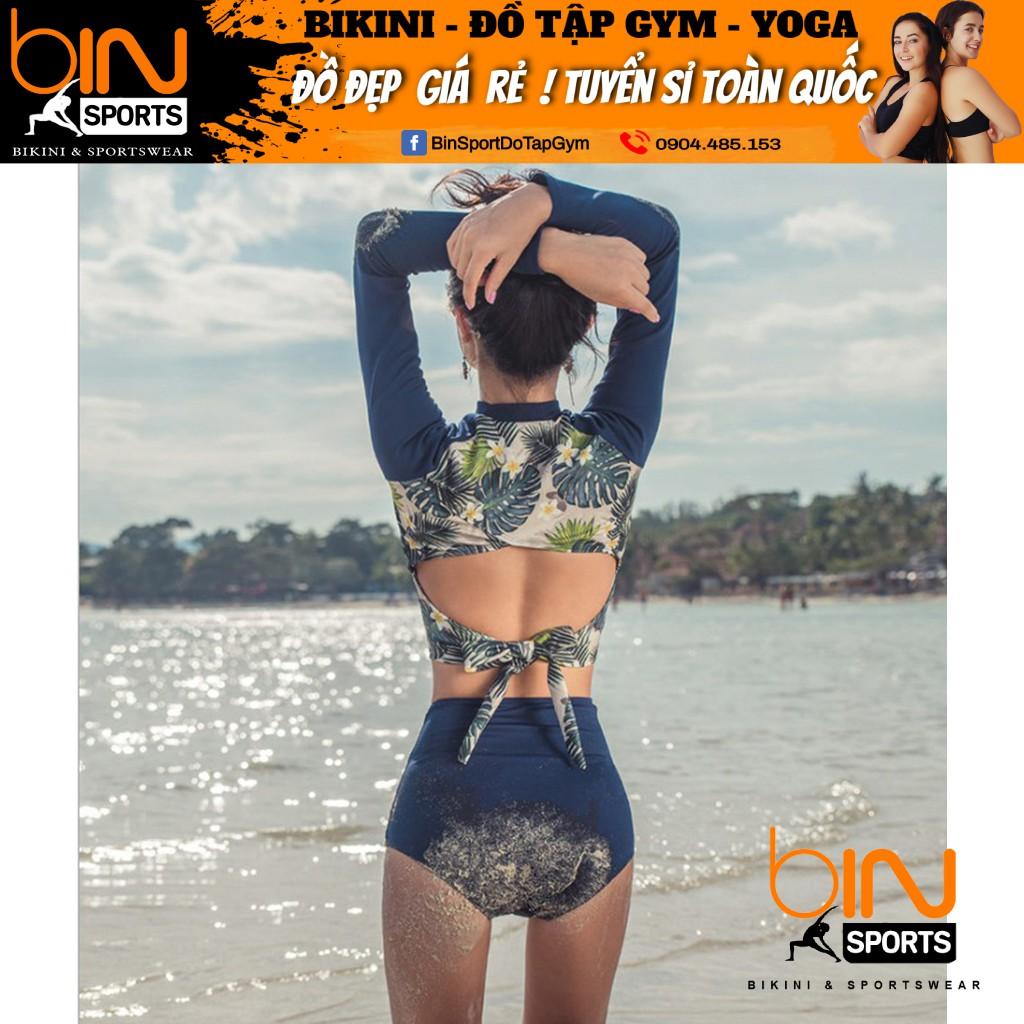 Bikini,Bộ Đồ Bơi Hoa 2 Mảnh Dài Tay , Hàng Nhập,BHN009