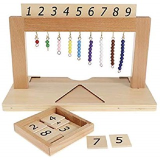 Giáo cụ Montessori bản quốc tế – Giá treo các chuỗi hạt màu từ 1 đến 9