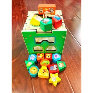 ẢNH THẬT- Hộp thả hình khối động vật bằng gỗ – Đồ chơi giáo dục cho trẻ
