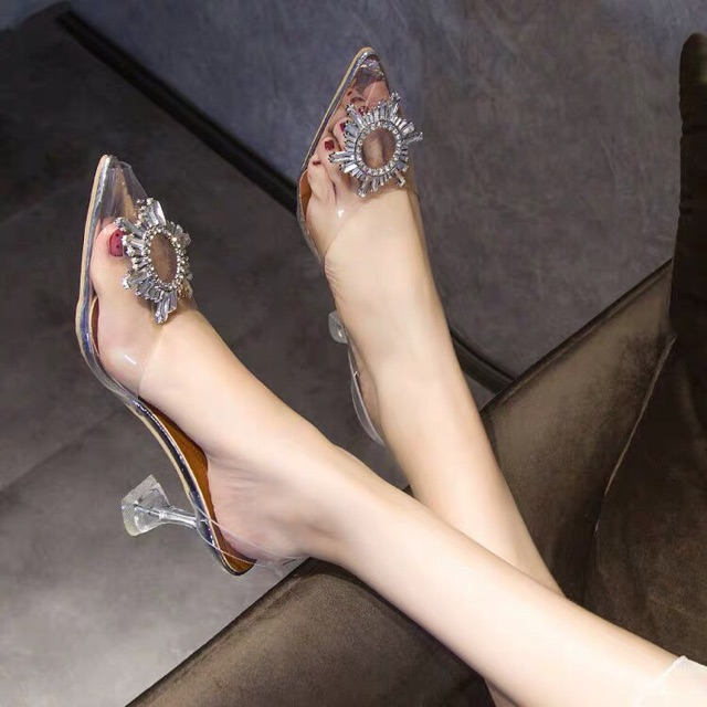 giày cao gót hoa mặt trời trong suốt cao 7p êm chân mã X12/ S39