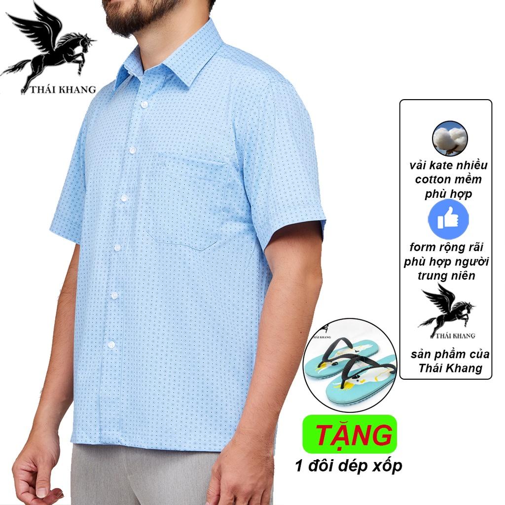 Áo sơ mi ngắn tay nam form rộng trung niên vải kate mặc mát loại áo sơ mi nam họa tiết OG1