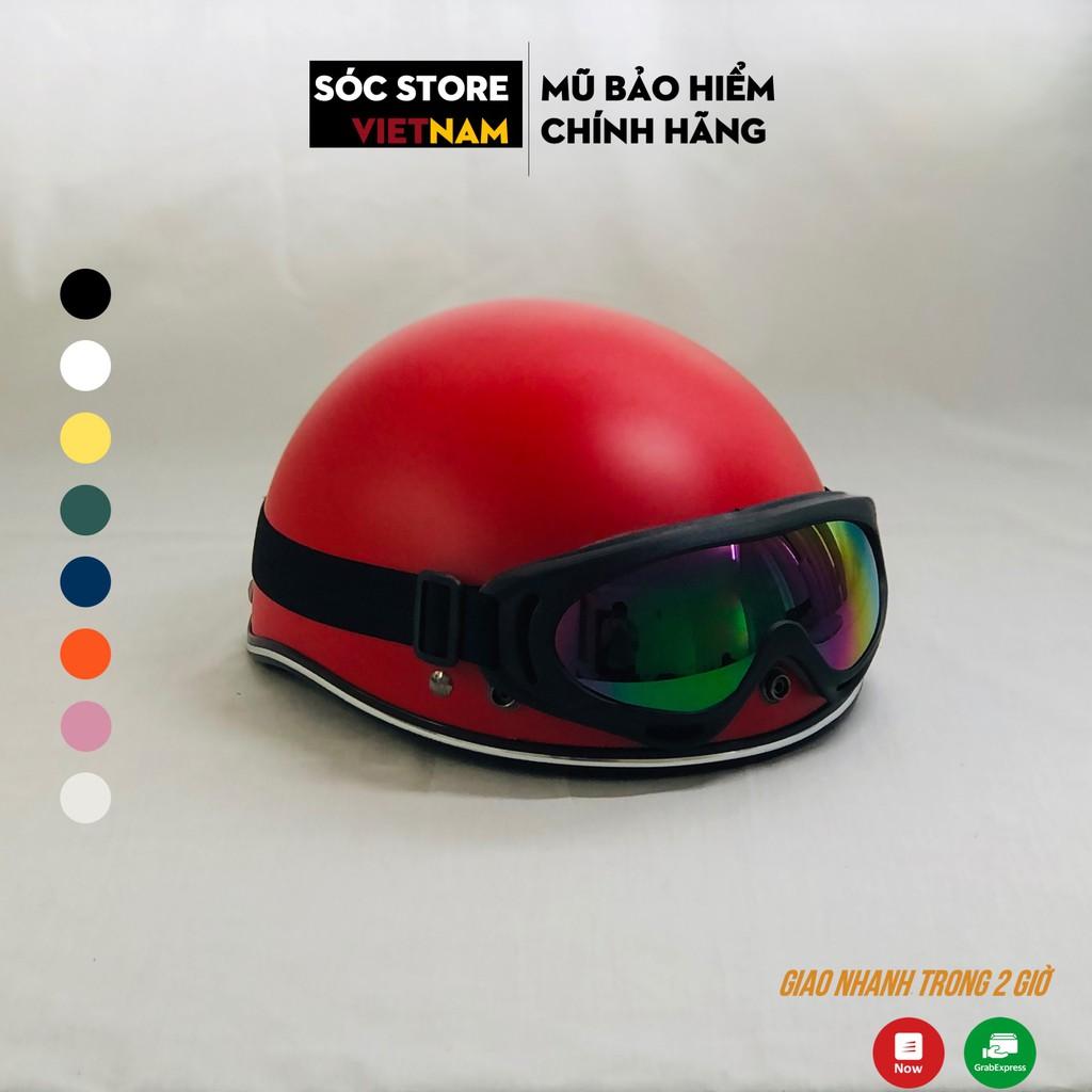 Mũ bảo hiểm nửa đầu chính hãng Sóc Store Vietnam màu đỏ kèm kính UV, kính phi công, nón bảo hiểm 1 phần 2 freesize