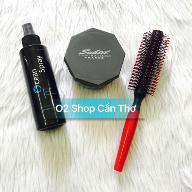 Combo sáp vuốt tóc Subtil Clay Wax + xịt phồng Ocean Pre-styling + lược tròn